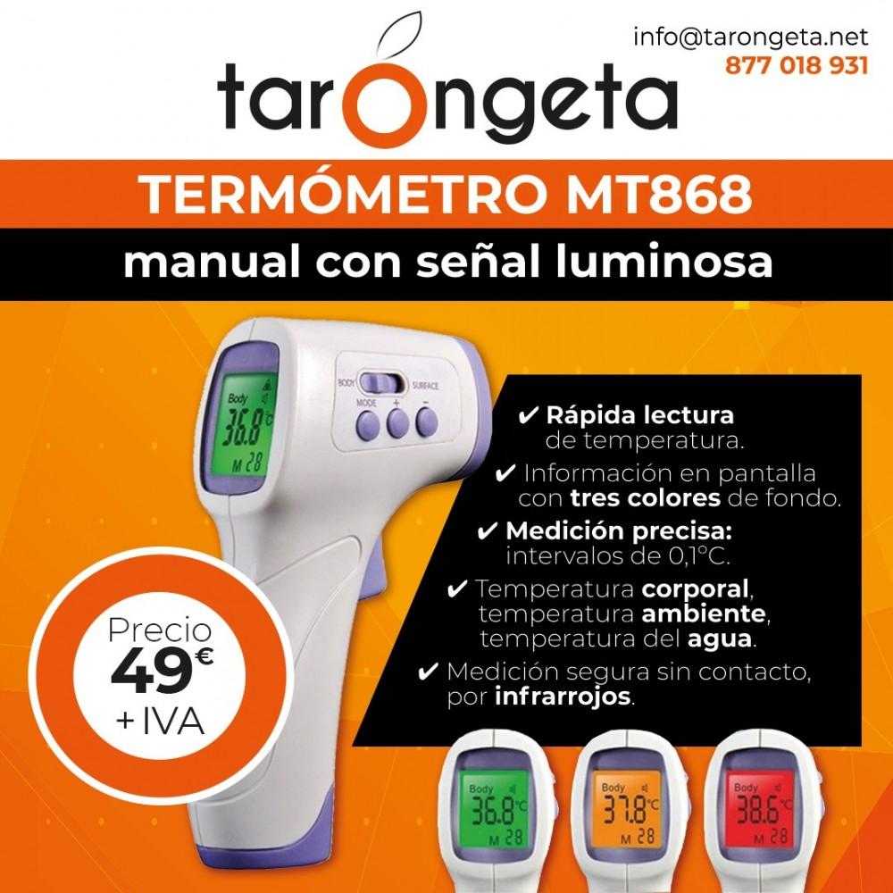 Termometro Manual Con Senal Luminosa Si trova sul retro, ed è piccolo e brigoso da spostare. market print